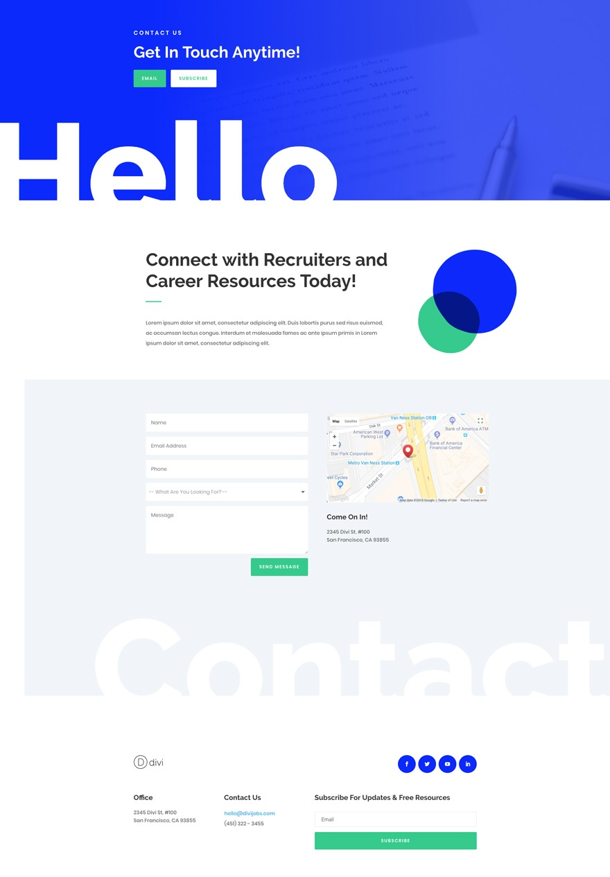 job recruiter contact page